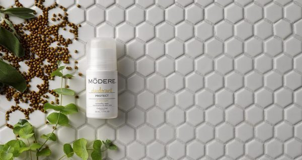 Modere deodorant uses coriander, sage, eucalyptus, and aloe vera to keep you smelling fresh all day, naturally.