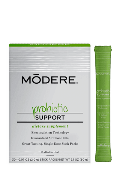 Modere Probiotic balances intestinal microflora for maintenance of good health.